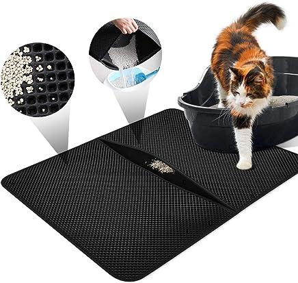 LOETAD Cat Litter Mat Estera de Arena Gato Alfombra de Basura Impermeable Trapping Mat 55 * 70cm de Doble Capa Fácil de Limpiar