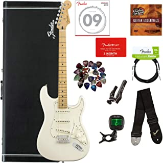 Fender Player Stratocaster, Maple - Polar White Bundle with Hard Case, Cable, Tuner, Strap, Strings, Picks, Capo, Fender Play Online Lessons, and Austin Bazaar Instructional DVD
