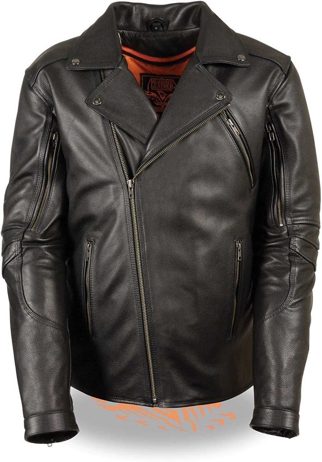 Milwaukee Men's Motorcycle Police Style Butter Soft Naked Leather Jacket W/Vent Gun Pocket (XL Regular)