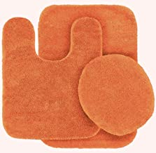 Mk Home Collection 3 Piece Bathroom Rug Set Bath Rug, Contour Mat & Lid Cover Non-Slip with Rubber Backing Solid Orange New