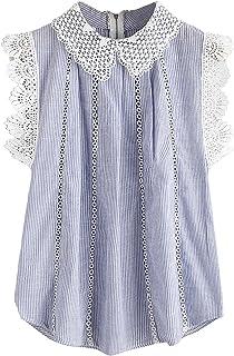 bfa97a0d05c672 SheIn Women s Contrast Scallop Lace Trim Pinstripe Blouse