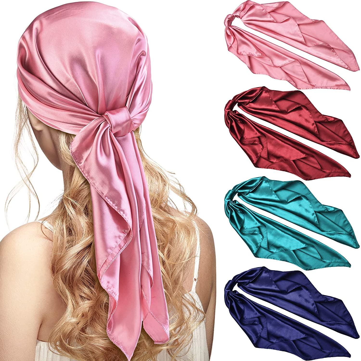 4 Pieces 35 Inch Satin Head Scarves Large Vintage Square Scarf Silk Feeling Satin Hair Wrapping Scarves for Women Girls (Navy Blue, Wine Red, Skin Pink, Blue)