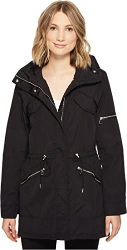 Lightweight Parka with Drawstring Waist and Hem