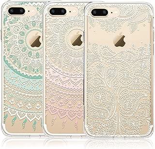 CarterLily iPhone 8 Plus Case, iPhone 7 Plus Case, [3-Pack] Clear Mandala Henna White Flower Cute Art Pattern Flexible TPU Back Case for iPhone 7 Plus iPhone 8 Plus (for iPhone 7 Plus A)