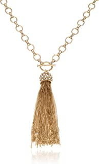 Long Gold Chain Tassel Necklace with Crystal Fireball...