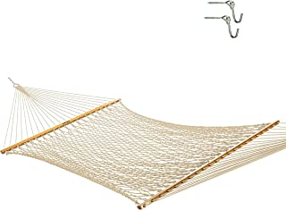 Best Original Pawleys Island 13DCOT Large Oatmeal DuraCordRope Hammock with Free Extension Chains & Tree Hooks, Handcrafted in The USA, Accommodates 2 People, 450 LB Weight Capacity, 13 ft. x 55 in. Review
