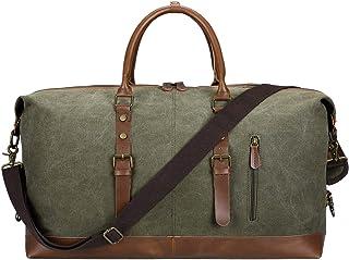 S-ZONE Reisetasche Unisex Vintage Cancas PU Leder Trim Handgepäck Weekender Tasche Umhängetasche Schulranzen Handtaschen für Übernachtung Wochenende
