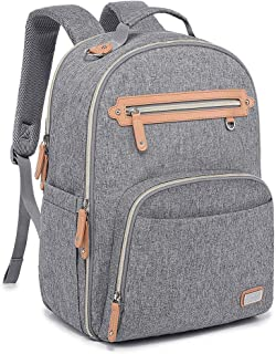 Diaper Bag Backpack, WELAVILA Large Baby Bags with Insulated Pockets & Changing Pad, Multi-Function Unisex Travel Back Pack (Gray)