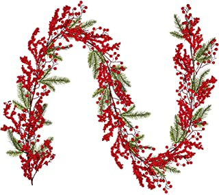 Artiflr 6Ft Red Berry Christmas Garland, Artificial Greenery Garland with Red Berries and Spruce Stems for Holiday Firepla...