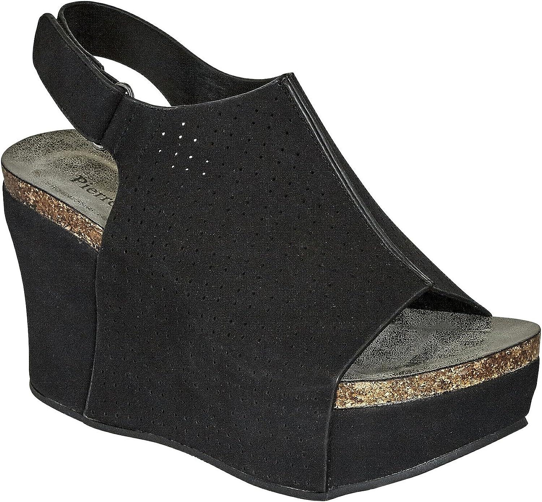 Pierre Dumas Women's Vegan Leather Peep-Toe Adjustable Ankle Strap Wedge Sandals Open Toe Hester-16