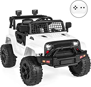 Best Choice Products 12V Kids Ride On Truck Car w/Parent Remote Control, Spring Suspension, LED Lights - White