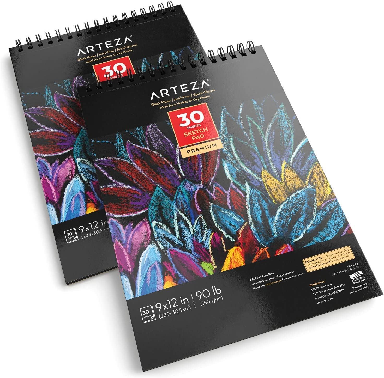 """ARTEZA 9X12"""" Black Sketch Pad, Pack of 2, 60 Sheets (90lb/150gsm), 30 Sheets Each, Spiral-Bound, Heavyweight Paper, Perfect for Graphite & Colored Pencils, Charcoal, Oil Pastels, Gel Pens, Chalk, Ink"""
