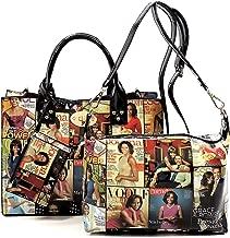 Glossy magazine cover collage crossbody bag purses Michelle Obama mini handbag 3pcs set
