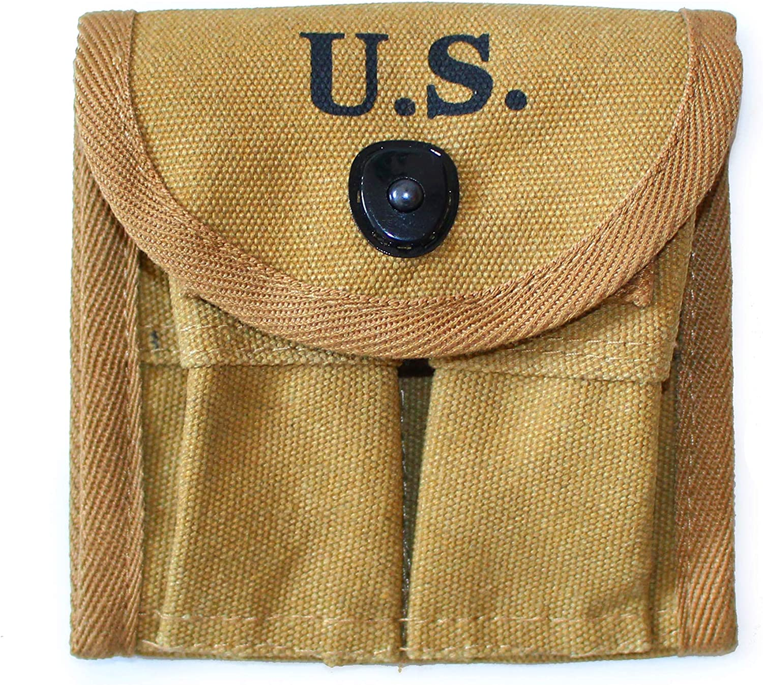 ANQIAO WW2 US M1 Carbine Ammo Pouch 2 Cells Magazine Bag Buttstock Khaki Color