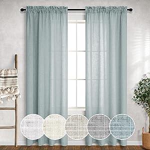 Blue Green Curtains 84 Inch Length for Bedroom 2 Panels Rod Pocket Semi Sheer Boho Drape Soft Linen Aqua Curtains for Living Room Kids Nursery Beach Coastal Farmhouse Decor Seafoam Mint Sage Teal Grey