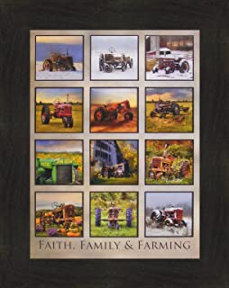 Home Cabin Décor Faith, Family & Farming by Lori Deiter 16x20 John Deere International Farmall Case Allis-Chalmers Tractor Collage Photo Farm Framed Art Print Picture