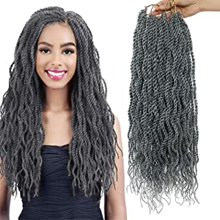 (6Packs)18Inch Wavy Senegalese Twist Crochet Hair Braids Wavy Ends Synthetic Hair..