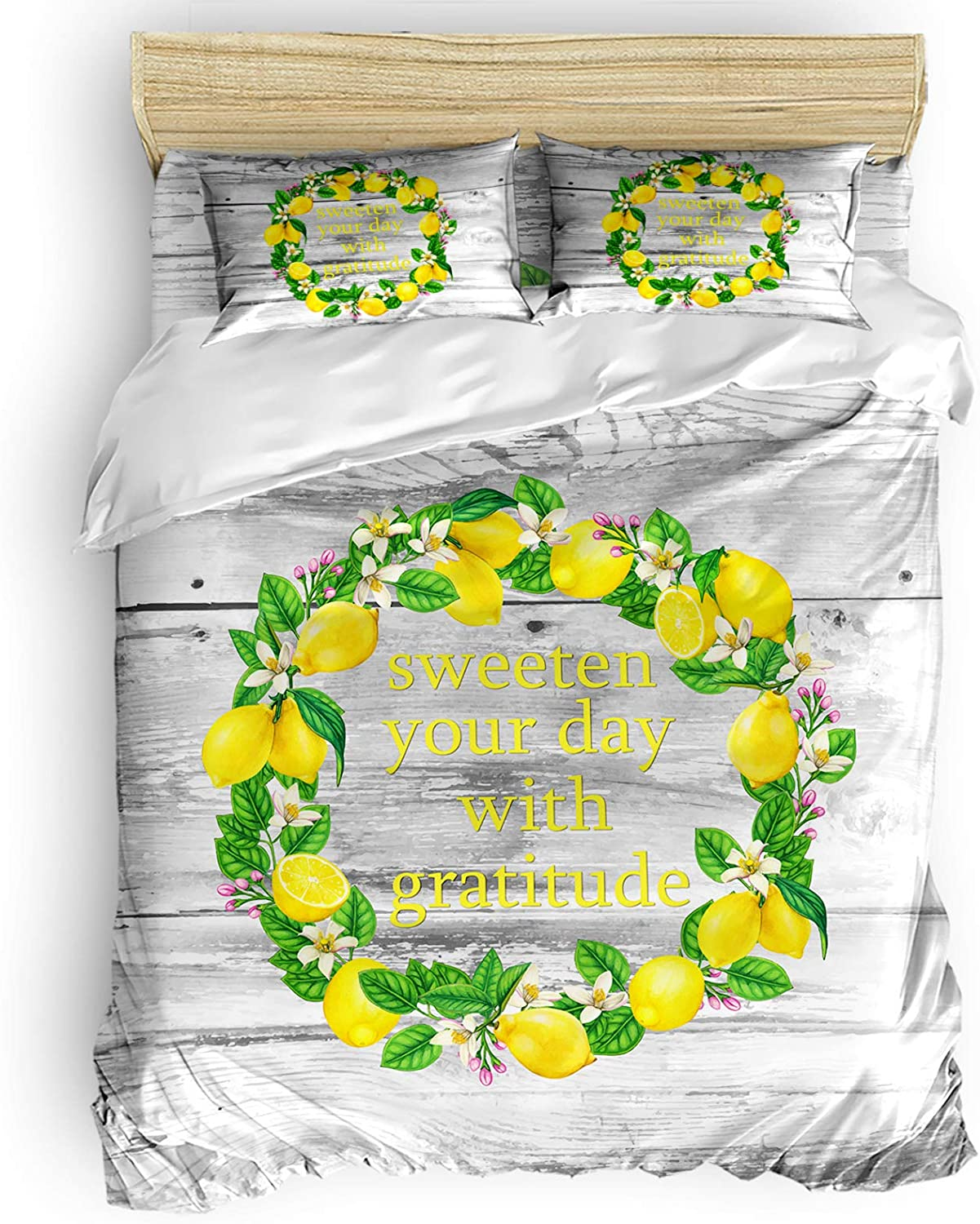 Queen OFFicial shop Comforter Covers Sets Rustic Summer Wreath St New Free Shipping Wooden Lemon