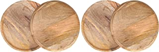 Wood Serving Charger Plates, Dinnerware Round Rustic Thanksgiving Centerpiece Tableware dining for sandwiches, salad, finger foods, cheese, burgers, appetizers- Pack of 4 measure 11 inches - NATURAL