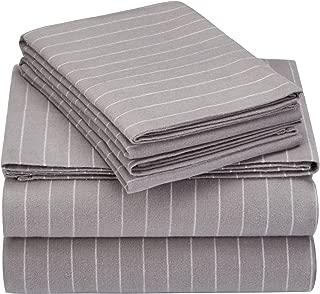 Pinzon 160 Gram Pinstripe Flannel Cotton Bed Sheet Set, Queen, Grey Pinstripe