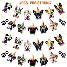 4 Pack Dog Birthday Banner 30 Pcs Dog Faces Birthday Banner Claws Garland Dog Face Portrait Garland for Pet Party Dog Themed Party Decoration