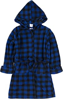 Image of Blue Plaid Fleece Hooded Bath Robe for Boys and Toddlers