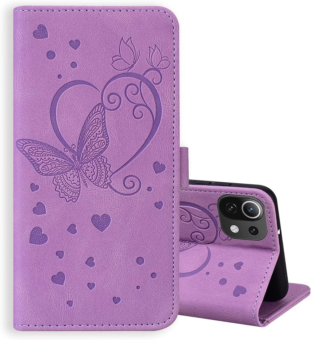 ONETHEFUL Xiaomi Mi 11 Lite 4G/5G Funda Cartera Carcasa Accesorios Flip Cover Libro Case Fundas Mariposas en Relieve Protectoras de Piel Sintética para el Teléfono Púrpura