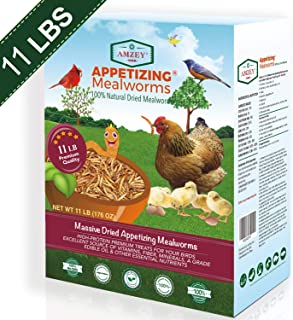 Amzey Dried Mealworms 11 LBS - 100% Natural for Chicken Feed, Bird Food, Fish Food, Turtle Food, Duck Food, Reptile Food, Non-GMO, No Preservatives, High Protein and Nutrition