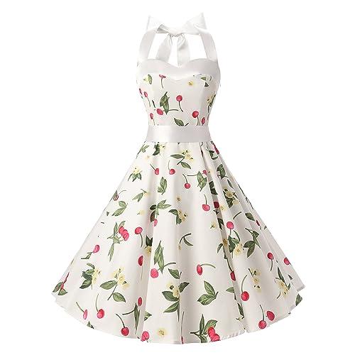 Dresstells® Women's 1950s Dress Retro Halter Polka Dots Vintage Audrey Rockabilly Cocktail Party Dress