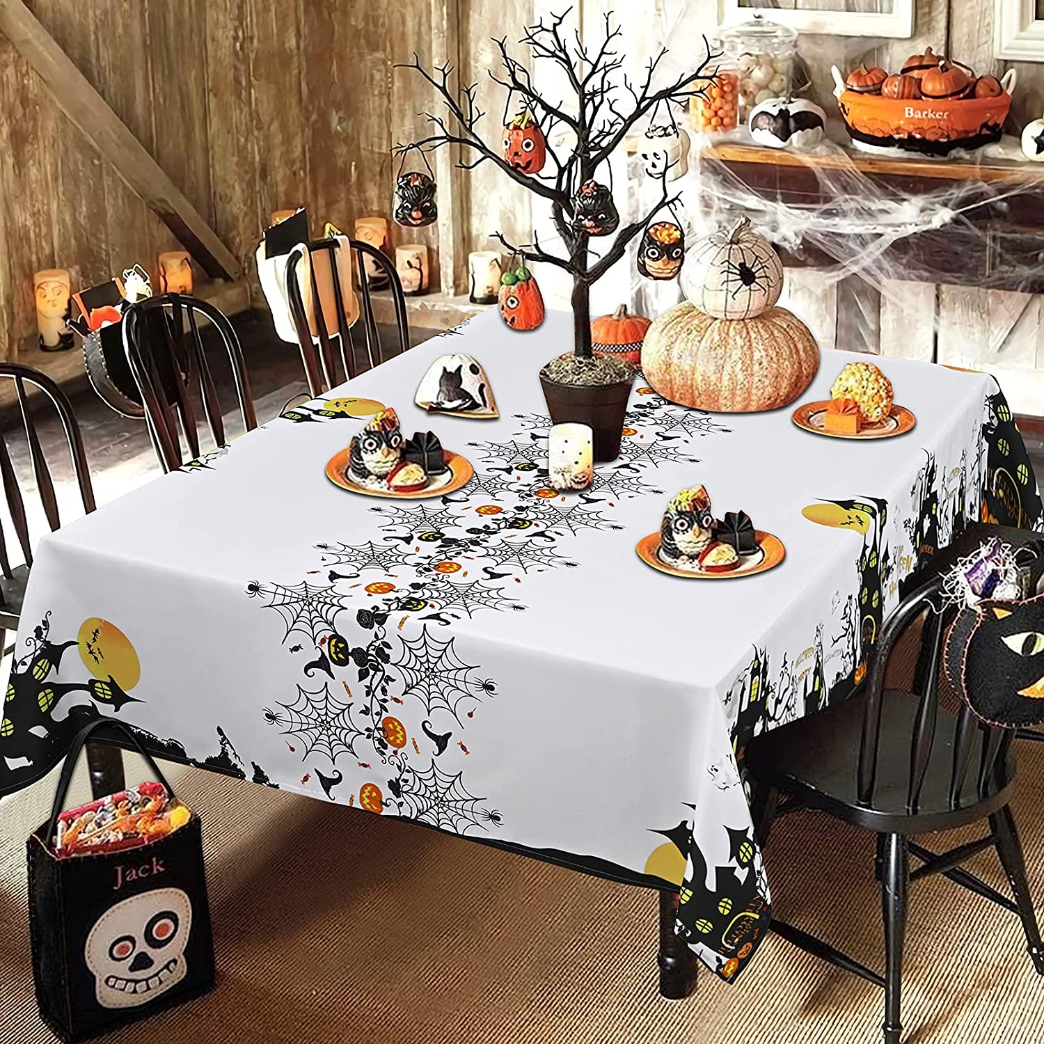 Halloween Tablecloth, Spider Web and Haunted House Town Table Cloth, Scary Pumpkin Cobweb Tablecloths, Waterproof Spill proof Table cover for Dinner Party Decoration, Black White, Square