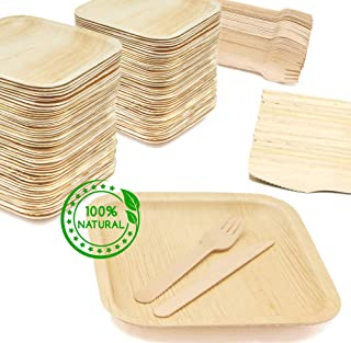 "Holiday Party Dinnerware Eco Set of 300 Eco-Friendly Dinnerware - 100 Disposable 8"" Square Palm Leaf Plates, 100 Wood Forks, 100 Wood Knives"