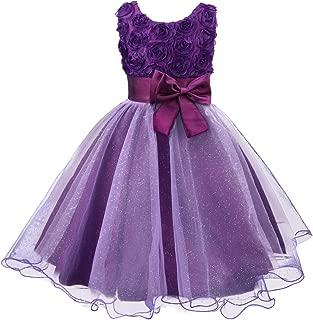 Little Girls Tutu 3D Rose Flower Dress for Toddler Girls