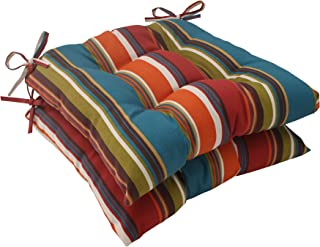 Pillow Perfect Outdoor Westport Tufted Seat Cushion, Teal, Set of 2