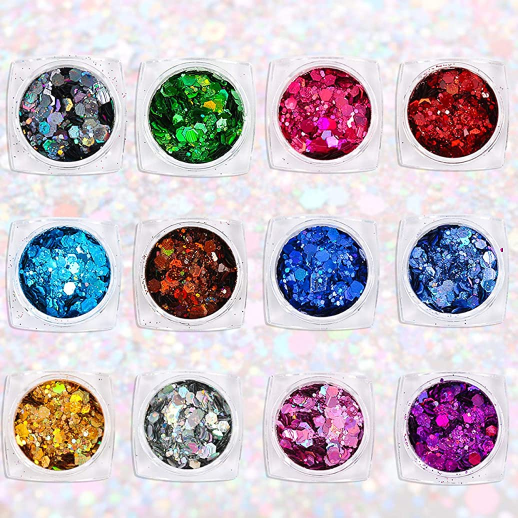 強いギャロップラリーWadachikis 有益な12色レーザー六角形のスパンコール爪きらめき粉砂の携帯電話シェルの工芸品特別なきらめきパウダーグリッタースパンコール
