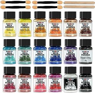 FansArriche Mica poeder - 18 kleuren Glitter epoxyharspigment, natuurlijke zeepkleurstof, metallic poederkleurstof voor he...