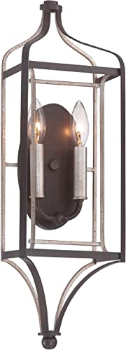 high quality Minka Lavery Wall Sconce Lighting 4342-593, Astrapia new arrival Candle Damp Bath Vanity Fixture, 2 Light, Dark new arrival Rubbed Sienna online sale