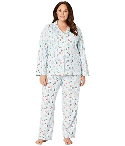 BedHead Pajamas Plus Size Long Sleeve Classic Notch Collar Pajama Set (Deck The Halls/Blue) Women
