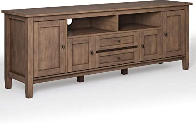 Simpli Home Warm Shaker SOLID WOOD Universal TV Media Stand, 72 inch Wide, Farmhouse Rustic, Storage Shelves and Cabinets for Flat Screen TVs up to 80 inches, in Rustic Natural Aged Brown