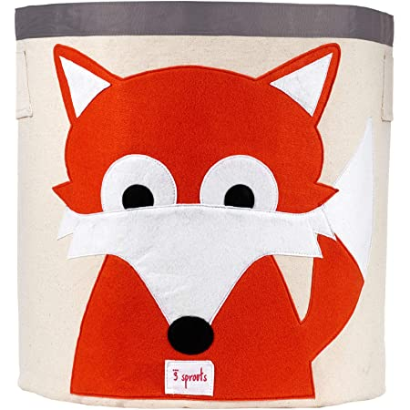 3 Sprouts Canvas Storage Bin - Laundry and Toy Basket for Baby and Kids, Fox