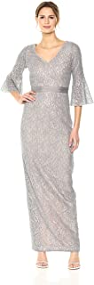 Calvin Klein Women's Sequined Lace Bell Sleeve Long Dress