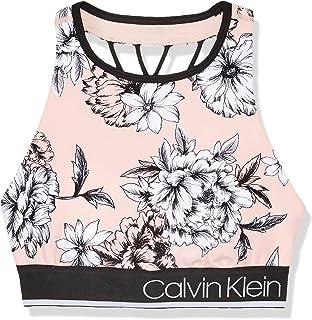 CALVIN KLEIN Women's Performance Perennial Print Sports Bra, Caution Combo, M