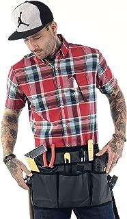 Under NY Sky Utility Tool Belt Apron – Heavy Duty Gray Oxford Canvas – 12 Pockets – Adjustable for Men, Women – Pro Mechanic, Woodworker, Carpenter, Electrician, Gardener, DIY, Handyman, Makers Apron