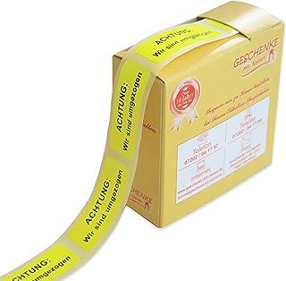 Geschenke mit Namen 1494 200 Signal-EtikettenAchtung: Wir sind Umgezogen, Schwarze Schrift auf Signalgelbem Grund auf der Rolle im praktischen Spender, je circa 51 x 19 mm, gelb
