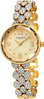 Akribos XXIV AK839 Swarovski Crystal Studded Women's Watch – Link Bracelet Strap and Small Round Polished Alloy Case Crystal Accents