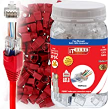 ITBEBE 100 Sets Pass Through Cat6 RJ45 connectors and Red Strain Relief Boots for Solid or Stranded Wire. 8P8C UTP Passthrough cat 6 Network Insert ethernet Plug for Unshielded 23 AWG Cables
