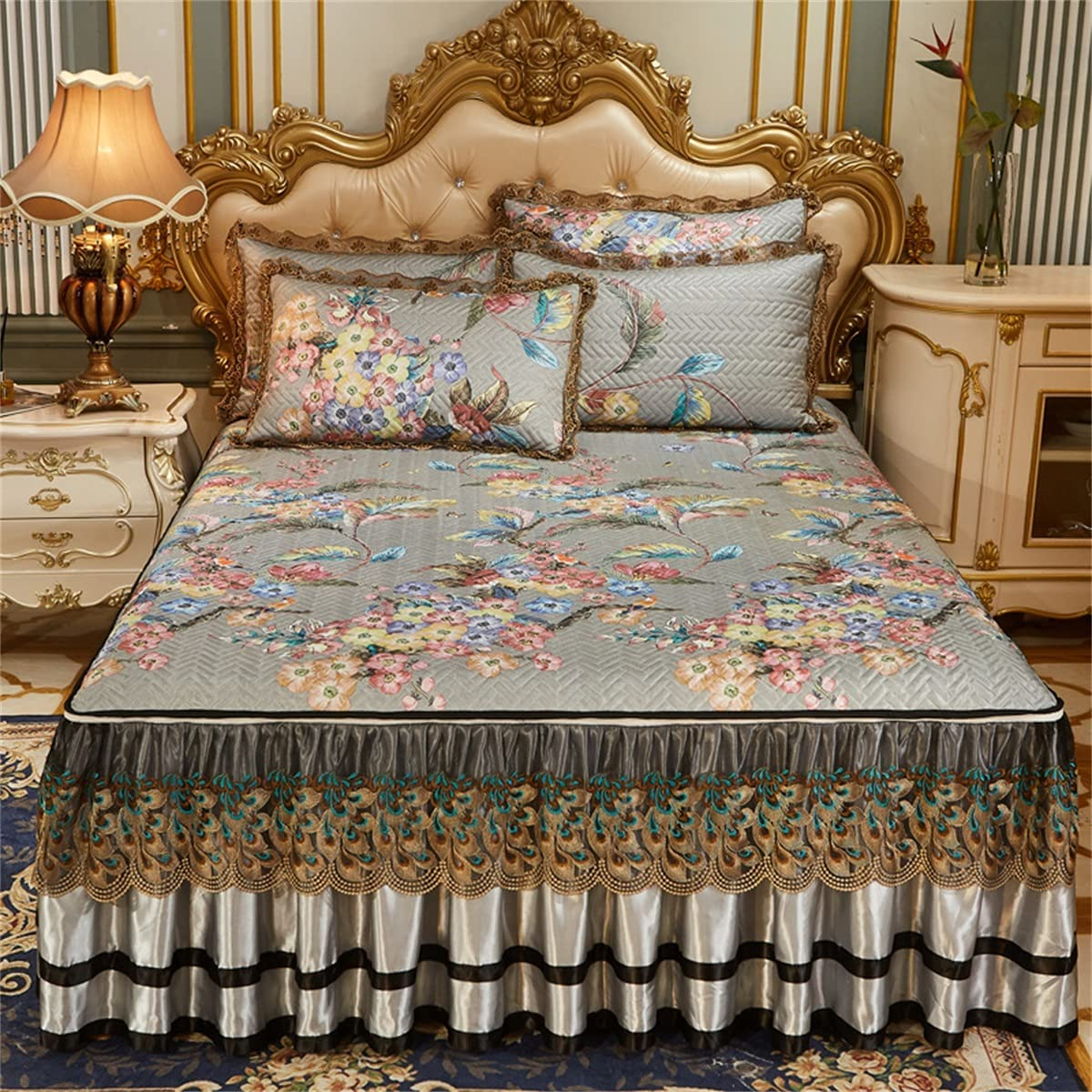 CHLDDHC Cheap sale 3-Piece Max 73% OFF Set Fitted Bed lace Skirt Gau Coverlet Bedspread