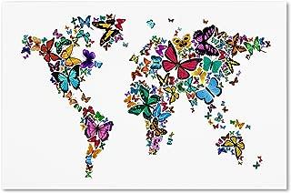 Butterflies Map of The World Artwork by Michael Tompsett, 22 by 32-Inch Canvas Wall Art