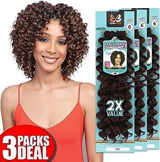 [3 PACKS DEAL] Bobbi Boss Synthetic Crochet Braiding Hair Extension 2X Brazilian Cosmo Curl 6