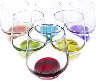 Carnevale Colored Stemless Wine Beverage Glasses, 11.75 Ounce - Set of 6