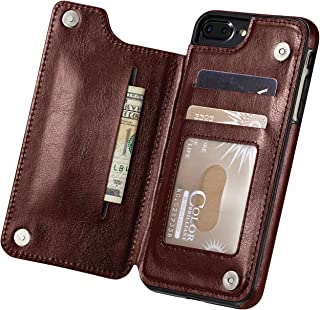 For iPhone 7 Plus Case, iPhone 8/8s Plus Case, Marval.P Slim Premium Leather iPhone Wallet Case Cover Pouch Card Slots Shockproof Folio Flip Protective Defender Shell Magnetic Clasp Kickstand Holder (iPhone 7plus/8plus Brown)